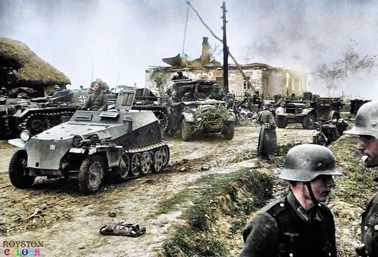 Немецкие войска на отдыхе в селе Старицы